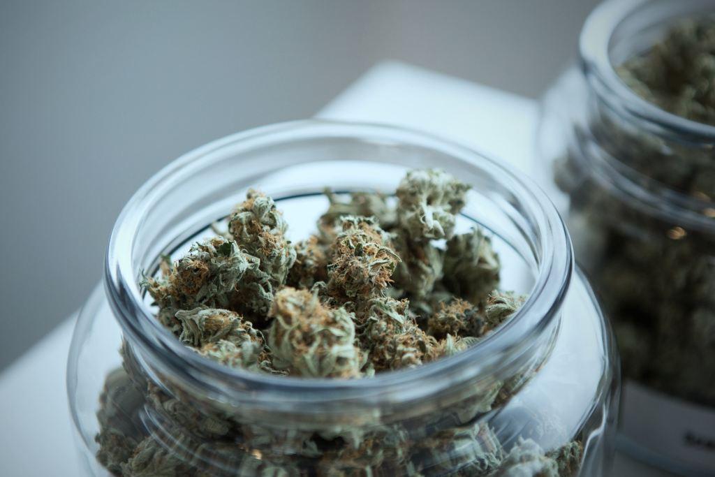 cannabis jar closeup